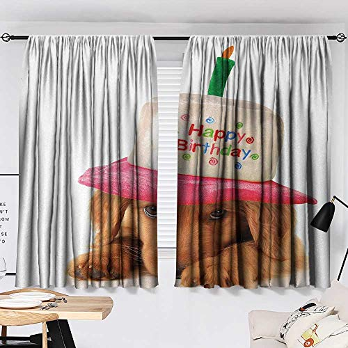 Jinguizi Kids Birthday Curtain for Bathroom Cute Puppy Wearing a Party Cone Shaped Hat with Candlestick Party Greetings Household Darkening Curtains Multicolor W55 x L39 by Jinguizi (Image #1)