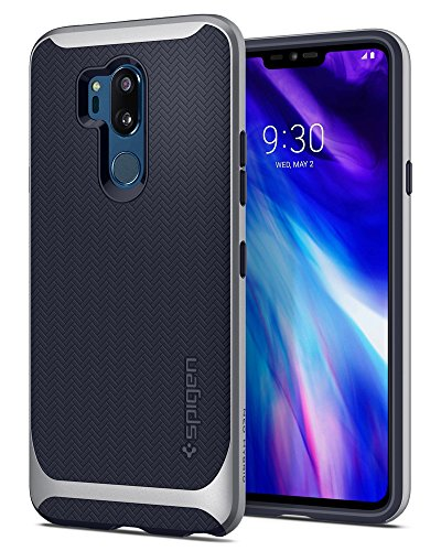 Spigen Neo Hybrid LG G7 Case/LG G7 ThinQ Case with Flexible Herringbone Pattern Protection and Reinforced Hard Bumper Frame for LG G7 ThinQ (2018) - Satin Silver