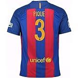 87f2b02a3 2016-17 Barcelona Sponsored Home Football Soccer T-Shirt (Gerard Pique 3)