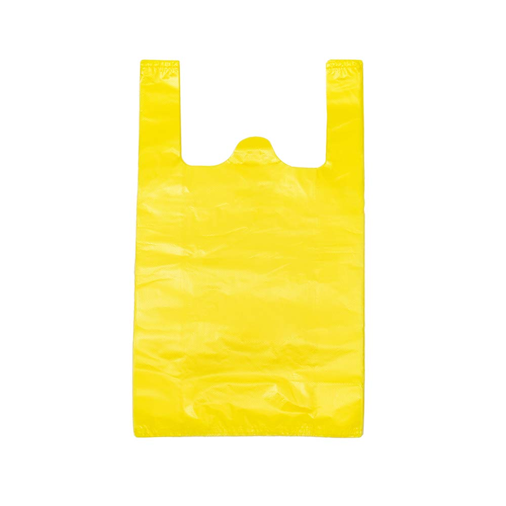 LazyMe 12 x 20 inch Plastic Thick Yellow T Shirt Bags, Handle Shopping Bags, Multi-Use Large Size Merchandise Bags, Yellow Plain Grocery Bags, Durable (200, Yellow)