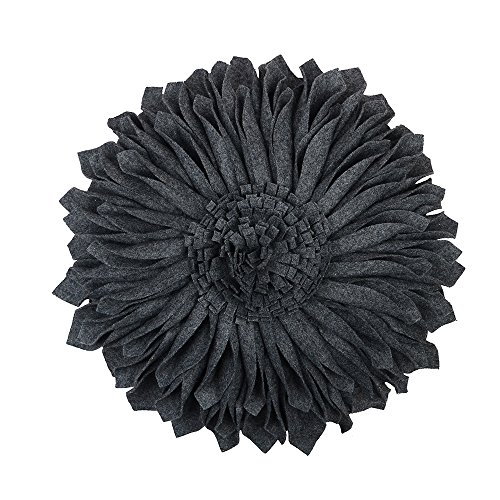 JW Handmade 3D Sun Flowers Accent Pillows Round Cushions for Home Sofa Car Office Chair Bed Decoration Wool Dark Gray 14 Inch / 35 CM (Throw Colorful Cheap Pillows)
