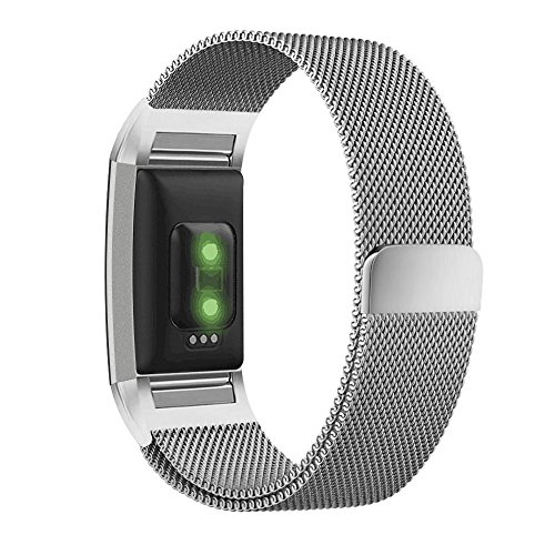 UMTELE for Fitbit Charge 2 Band, Milanese Loop Stainless Steel Metal Bracelet Strap with Unique Magnet Lock, No Buckle Needed for Fitbit Charge 2 HR Fitness Tracker Silver Small