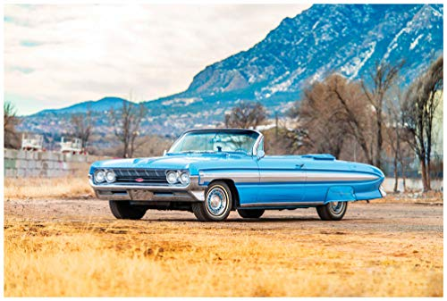 Oldsmobile Starfire Convertible (1961) Car Art Poster Print on 10 mil Archival Satin Paper Blue Front Side Static View (11
