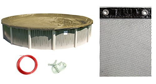 Buffalo Blizzard Bundle for 33-Foot Round Above-Ground Swimming Pools - Supreme Plus Tan/Silver Reversible Winter Cover with 4-Foot Overlap and Mesh Leaf Net Cover Kit ()