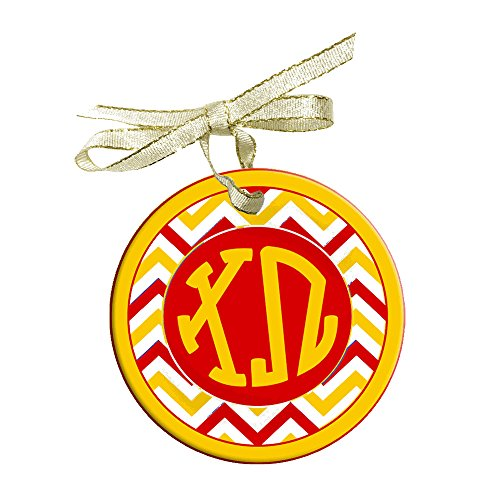 Greekgear Chi Omega Chi O Holiday Sorority Round Frosted Glass Ornament