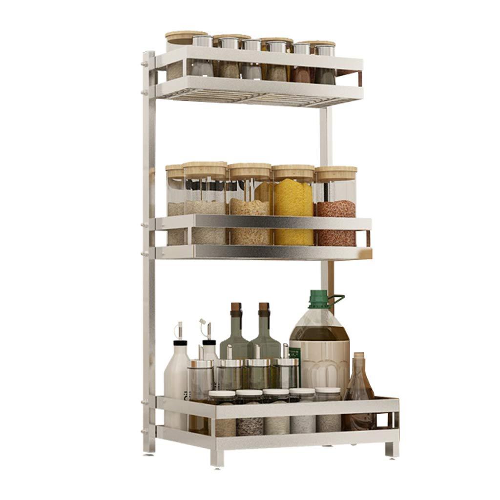 WLNKJ Kitchen Storage Rack Bracket, 2/3 Layer Multi-Function Desktop Seasoning Storage Rack, Stainless Steel Kitchen Spice Rack - Silver,a,3layer