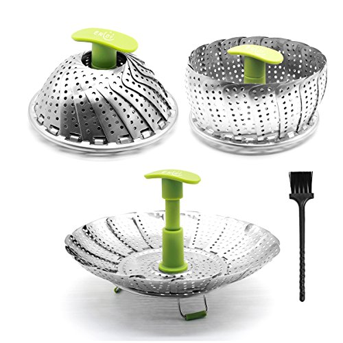 Steamer Basket Stainless Steel Vegetable Steamer Folding Steamer Insert for Veggie Fish Seafood Cooking with Cleaning Brush & Great Grips, Expandable to Fit Various Size Pot (6 to 11)