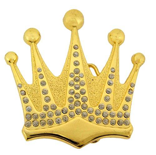 Princess Crown Belt (Crown Rhinestone Belt Buckle Royal Princess Prince Pugs Gear Pageant King Queen (Gold Rhinestones RR Size: 4.5