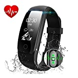 Fitness Tracker Watch HR - Activity Health Tracker with Wristband Heart Rate Monitor - Wireless Pedometer Waterproof Bluetooth Smart Bracelet Band Sleep Monitor for Android IOS Smartphone