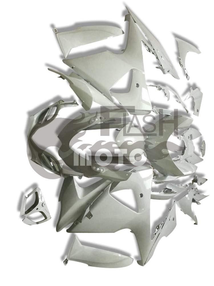 FlashMoto suzuki 鈴木 スズキ K9 GSXR1000 2009 2010 2011 2012 2013 2014 2015 2016用フェアリング 塗装済 オートバイ用射出成型ABS樹脂ボディワークのフェアリングキットセット ホワイト   B07MKCNCJ6