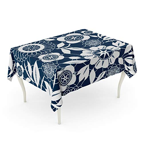 Semtomn 60 x 102 Inch Decorative Rectangle Tablecloth Navy Pattern White Lace Crochet Flowers Blue Floral Abstract Waterproof Oil-Proof Printed Table Cloth ()