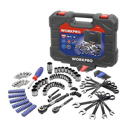 WORKPRO 145-piece Mechanics Tool Kit Black Chrome Drive Ratc