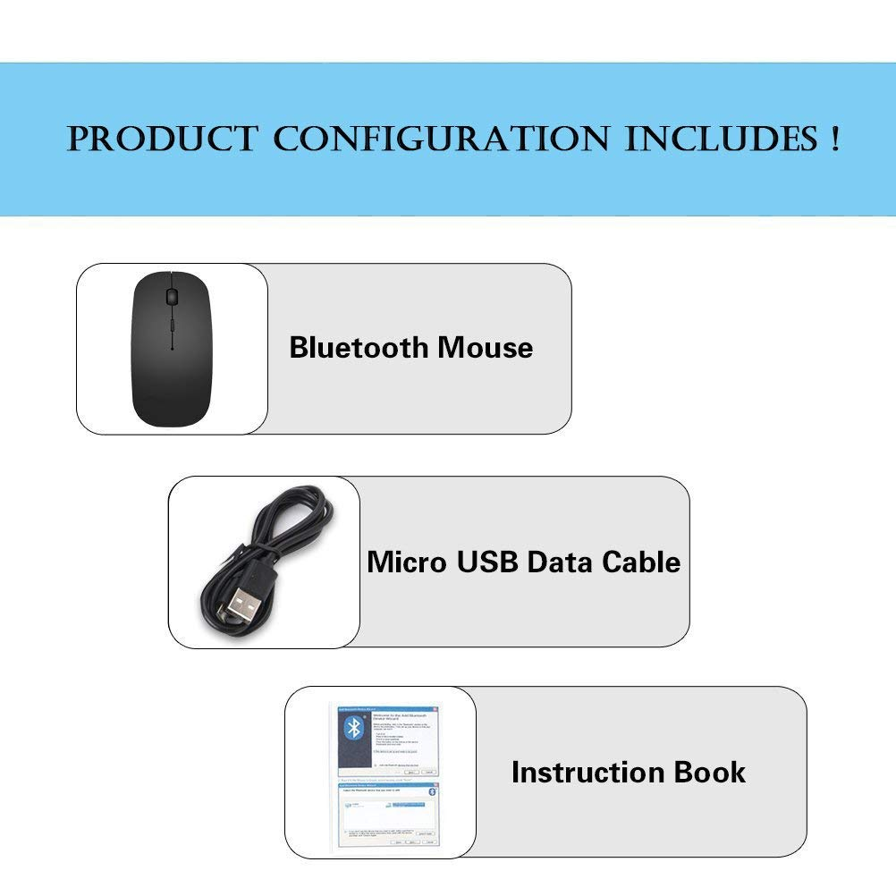 DEKEAN Bluetooth Mouse Rechargeable Bluetooth Wireless Mouse Works for Most Bluetooth Enabled Computer MacBook Pro Windows//Android Tablet Mac Mini Black iMac Laptop