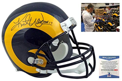 (Kurt Warner Autographed Signed St Louis Rams Full Size Throwback Rep Helmet Signature - Beckett Authentic)