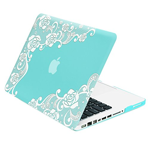 TOP CASE - Lace Hot Blue/Turquoise Rubberized Hard Case Compatible Old Generation MacBook Pro 13