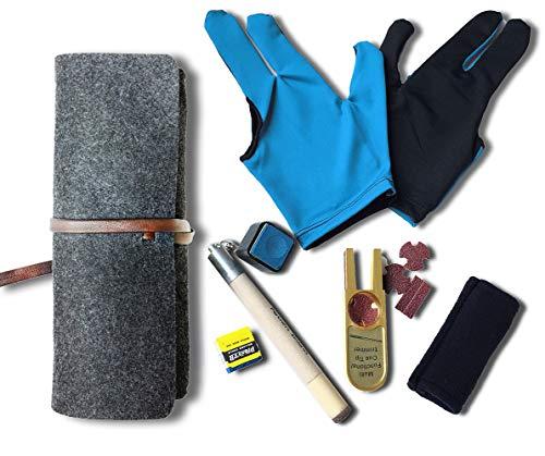 Pool Stick Accessories Kit [ Chalk Holder + Tip Pricker + U-Shape Tip Trimmers + Shaft Slicker Cleaner Tool + 3 Fingers Show Gloves 2pcs + Chalk 2pcs ]