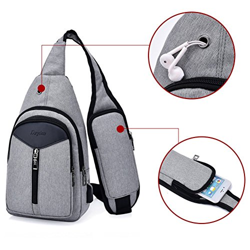 Backpack Women Port Shoulder amp; Daypack Bag Usb With Sxelodie Chest Rope Men Charging Crossbody For Bags Gray Sling FH0nqS