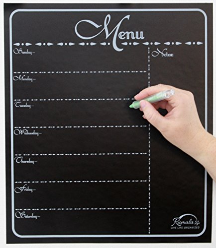 "Decorative Menu Chalkboard | Beautiful Chalkboard Menu Planner | Kitchen Chalkboard Menu | 14"" x 16"" 