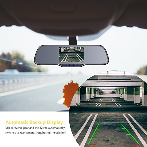 Z-EDGE Z2Pro Dual Dash Cam, 2K Ultra HD 2160P Front & 1080P Rear 5.0'' Ultra Clear IPS Rearview Mirror, Front and Rear Dash Cam, Backup Camera with 150 Degree Viewing Angle, WDR, 16GB card included by Z-EDGE (Image #6)