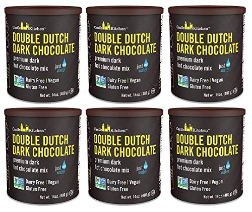 - Castle Kitchen Double Dutch Dark Chocolate Premium Hot Cocoa Mix - Dairy-Free, Vegan, Plant Based, Gluten-Free, Non-GMO Project Verified, Kosher - Just Add Water - 14 oz (Pack of 6)