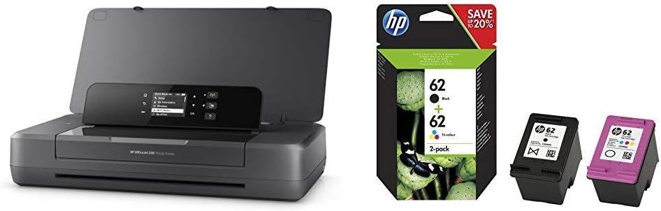 HP Officejet 200 Mobile - Impresora de Tinta (PCL 3, 4800 x 1200 dpi, 50/60 Hz, A4, Papel Satinado, Papel fotográfico) + 62 - Pack de Ahorro de 2 Cartuchos de Tinta Original HP 62 Negro, Tricolor: Amazon.es: Informática