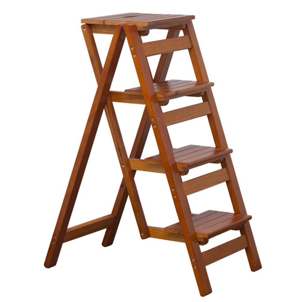 4ステップラダースツール折りたたみ木製、キッチン用家庭用ステップスツール、多機能ラダー、高さ92cm (色 : ブラウン ぶらうん) B07QVYDT84 ブラウン ぶらうん