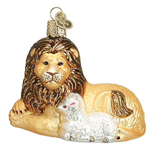 Old World Christmas Glass Blown Ornament with S-Hook and Gift Box, Zoo Animals Collection (Lion and Lamb)