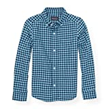 The Children's Place Big Boys' Long Sleeve Oxford Woven, Aquaduct 88260, M (7/8)