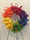 COLLEGE PRIDE - SPIRIT - LGBTQ - STUDENT ORGANIZATIONS - UNIVERSITY DIVERSITY GROUPS - GAY PRIDE - DORM - COLLECTOR WREATH - RAINBOW CARNATIONS, ZINNIAS, AND DAISIES - RAINBOW FLAG