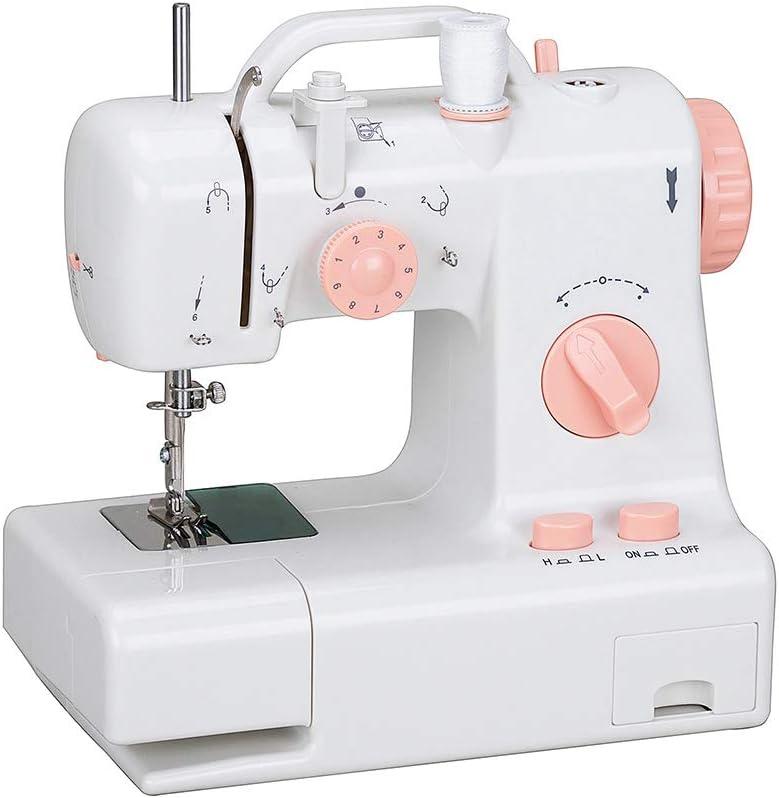Matte Mini máquina de Coser para Principiantes, Velocidad Dual portátil Máquina de Coser Máquina con Tabla de ampliación, Kit de Costura para el hogar, luz LED, White