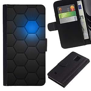 KLONGSHOP / Tirón de la caja Cartera de cuero con ranuras para tarjetas - Sci-Fi Futuristic Robot Pattern - Samsung Galaxy Note 4 SM-N910