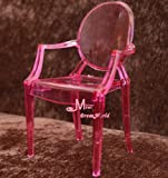 1/6 Barbie blythe pink Tranparent Plastic Arm Toy Chair Dollhouse Miniature