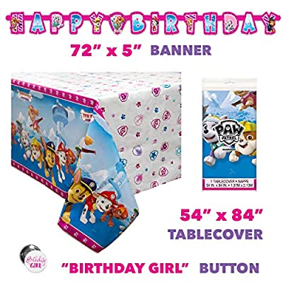 Paw Patrol Skye and Everest Girl Birthday Party Supplies Set - Serves 16 - Banner, Tablecover, Dinner Plates, Cake Plates, Cups, Napkins, Button: Toys & Games