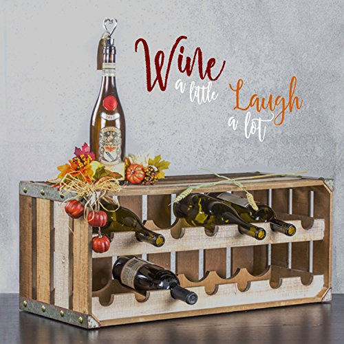 American Art Décor Wood and Metal Two Tier Wine Rack and Storage Shelf - Rustic Farmhouse Decor by American Art Décor (Image #7)