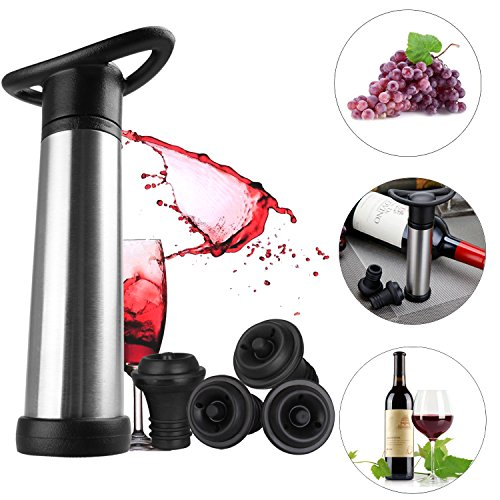 Ubitking Wine Saver, Wine Vacuum Preserver with 4 Vacuum Bottle Stoppers, Wine Bottle Pump for Wine champagne, Wine accessories Air Pump Set by Ubitking