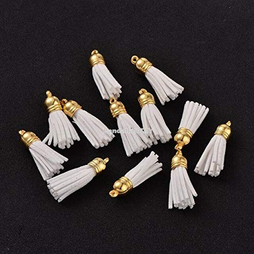 Suede Tassels Charm for Earring Or Cell Phone (15 Colors 38X10mm 100Pcs) (White)