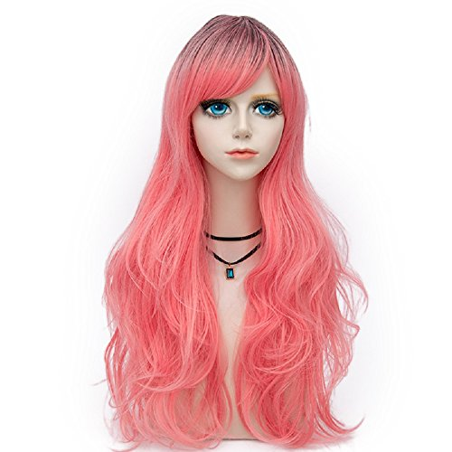 Probeauty Fashional COS Long Airy Curly Hair Ombre Cosplay Wig(Hot Pink 1159)]()