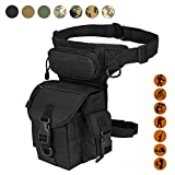 Military Tactical Drop Leg Bag Tool Fanny Thigh Pack Leg Rig Utility Pouch Paintball Airsoft Motorcycle Riding Thermite Versipack, Black/Tan/Army Green/Camouflage.7 Colors (Black)