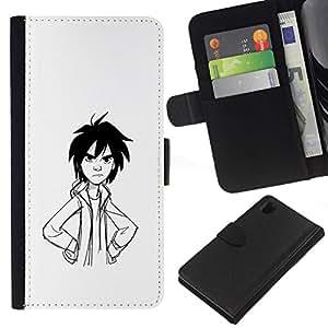 All Phone Most Case / Oferta Especial Cáscara Funda de cuero Monedero Cubierta de proteccion Caso / Wallet Case for Sony Xperia Z1 L39 // Angry Boy Pencil Drawing Art Black Hair