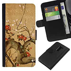 All Phone Most Case / Oferta Especial Cáscara Funda de cuero Monedero Cubierta de proteccion Caso / Wallet Case for LG G2 D800 // Tree Branch Flowers Blossoming Red Brown
