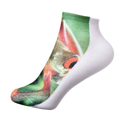 Ladies Casual Soft Breathable Frog Print Low Cut Ankle Socks Gift Idea, One Size, Frog