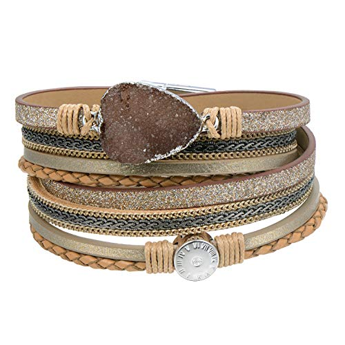 AZORA Leather Wrap Bracelet for Women Multi Layer Druzy Stone Cuff Bracelets with Magnet Clasp Gift for Girls - Beige -