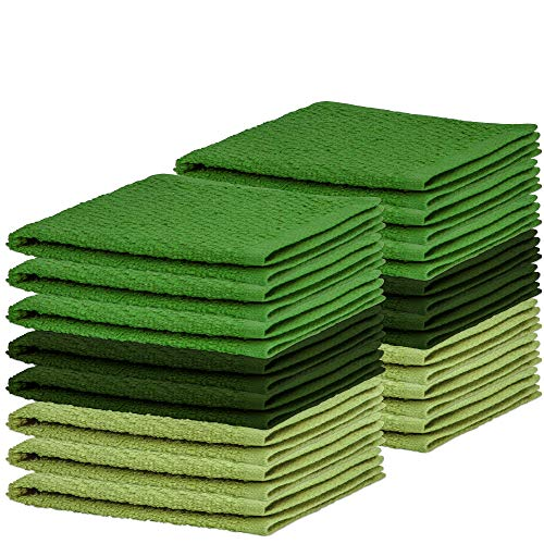 DecorRack 16 Pack Kitchen Dish Towels, 100% Cotton Wash Cloth, Luxurious Soft, 12x12 inch Ultra Absorbent, Machine Washable Washcloths, Green (16 Pack)