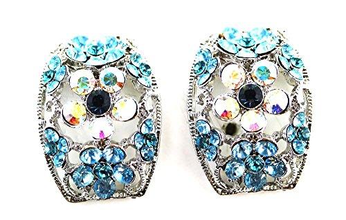 Saphire Blue White Rhinestone Flower Earring -Clamp-On Earrings