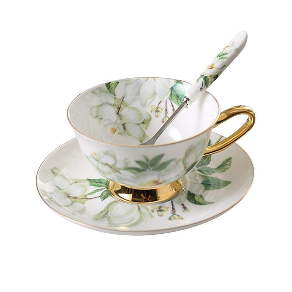 Bone China Ceramic Tea Cup Coffee Cup,Camellia,White And Green