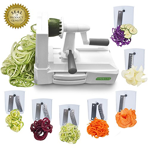Spiralizer Ultimate 7-Blade Vegetable Slicer Stronger Heavier Duty Design – Biggest Variety of Vegetable Cuts and Pastas for Healthy Low Carb/Paleo/Gluten-Free Meals With 3 Exclusive Recipe E-Books …