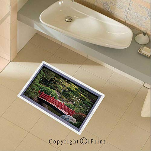 (Removable DIY Floor Stickers Decor Tiny Bridge Over Pond Japanese Garden Monte Carlo Monaco Along with Trees and Plants Decorative for Home Walls Floor Ceiling Kids Nursery Room Boy Girls Bedroom Bat)