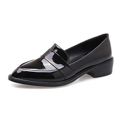 e14714c3d1c1d Amazon.com | Plus Size Lady Casual Flat Loafers Shoes Fashion Patent ...
