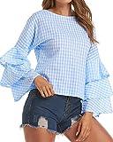 StyleDome Womens Blouses Long Sleeve Boho Crew Neck Ruffled Tops 02 Light Blue US 12