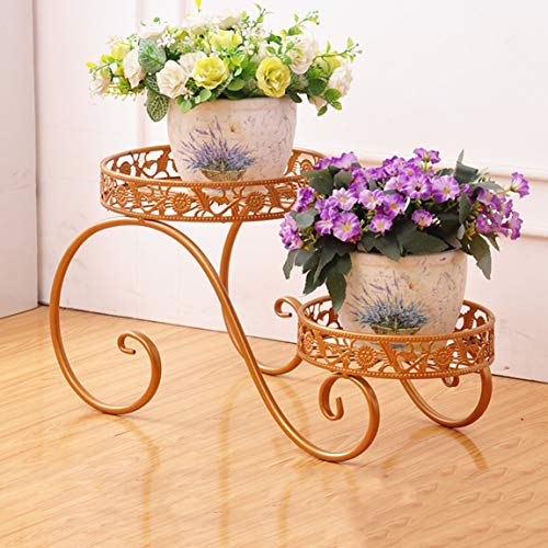 HZB Golden European Style Iron Flower Rack Multi Storey Balcony Living Room Ground Indoor and Outdoor Green Lace Floral Shelf (Size : L472725.3cm) by HZB flower frame